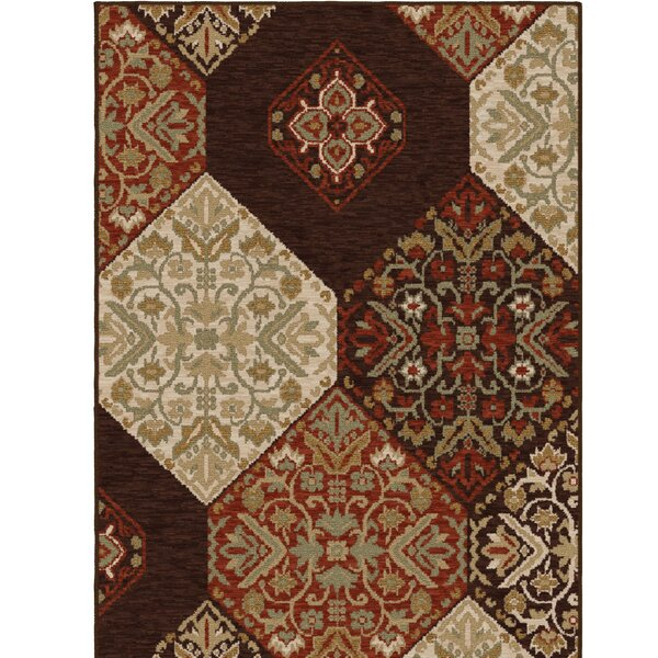 Augusta Brown/Red Area Rug by Charlton Home