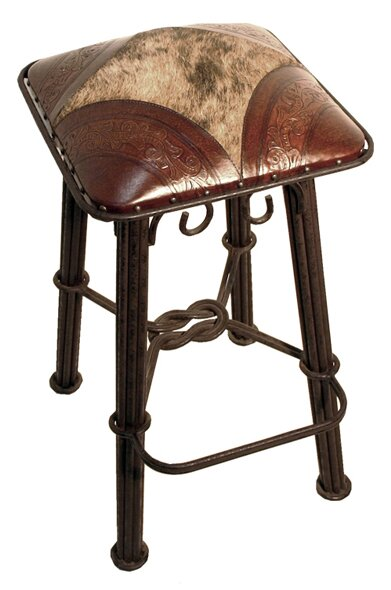 Chaucer 30 Metal Bar Stool with Leather Seat (Set of 2) by Fleur De Lis Living