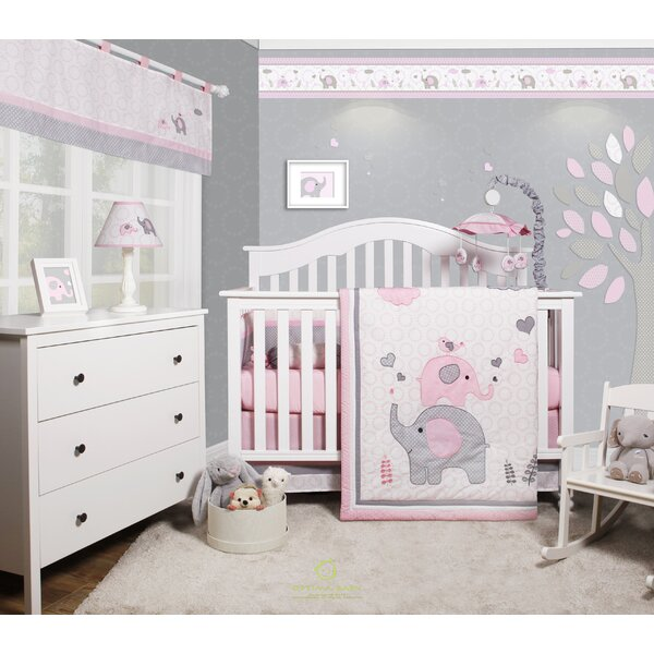 Cheatwood Elephant Baby Girl Nursery 6 Piece Crib