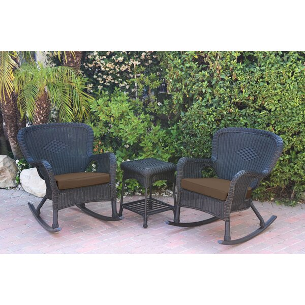Jaylyn 3 Piece Rattan Conversation Set with Cushions by Mistana