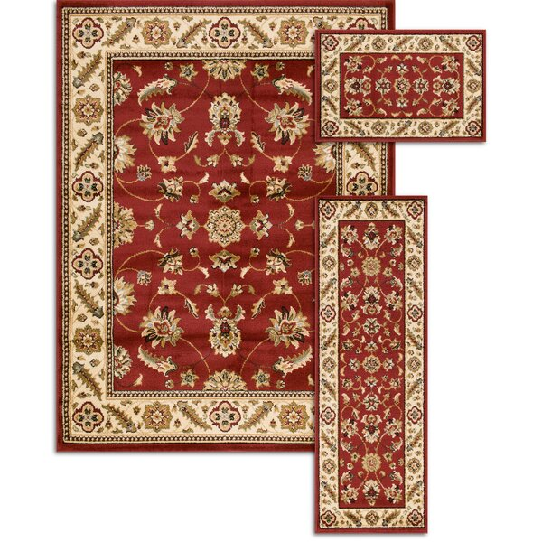 Penfield Red 3 Piece Area Rug Set by Threadbind
