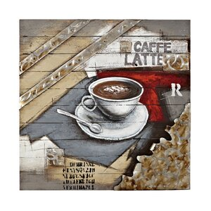 Square Abstract Hand Painted Espresso Brown Coffee Painting Print Plaque by Majestic Mirror