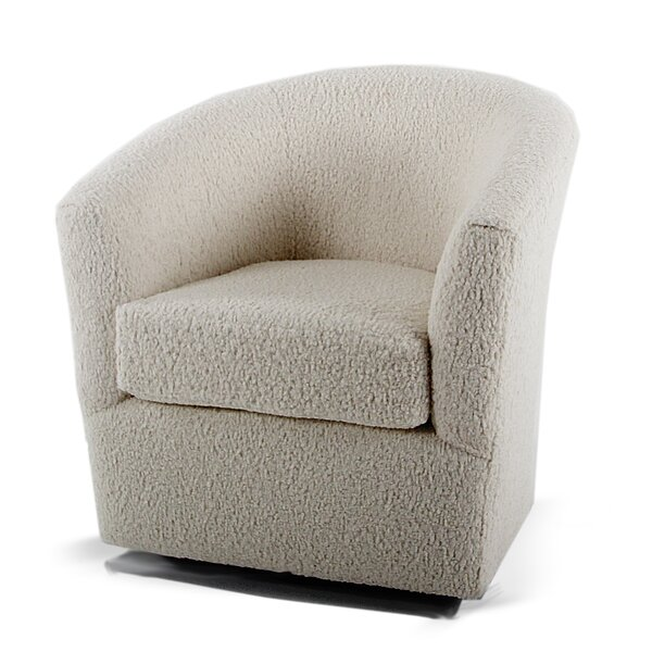 Rosa Faux Sheepskin Swivel Barrel Chair by Loon Peak