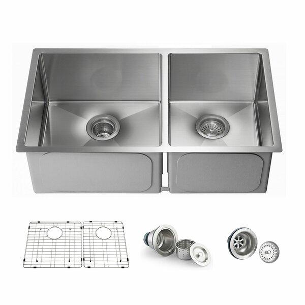 Handcrafted 33 L x 19 W Double Basin Undermount Kitchen Sink