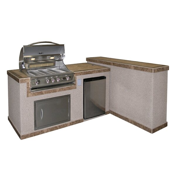 4-Burner Built In Gas Grill with Cabinet and Refri