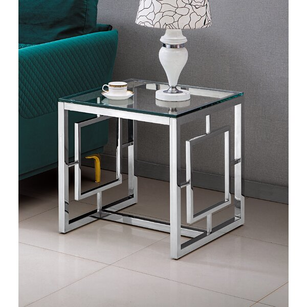 Estela Glass Top Sled End Table By Wrought Studio