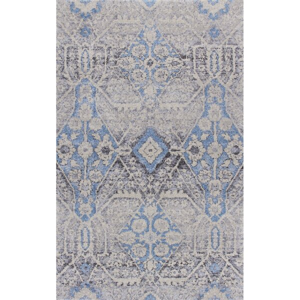Sunny Side Pewter Ivory/Blue Area Rug by Bungalow Rose