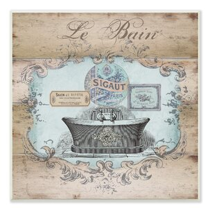 'Le Bain Wood Look Bath' Graphic Art on Canvas by Stupell Industries