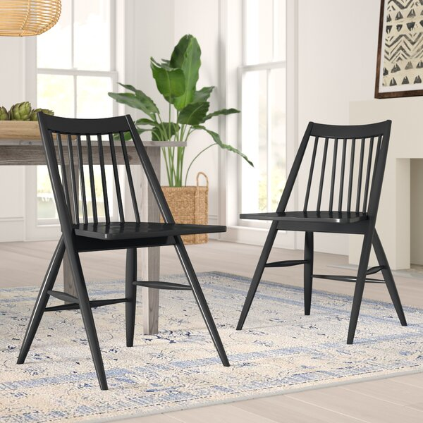 Best #1 Massey Solid Wood Dining Chair (Set Of 2) By Mistana New