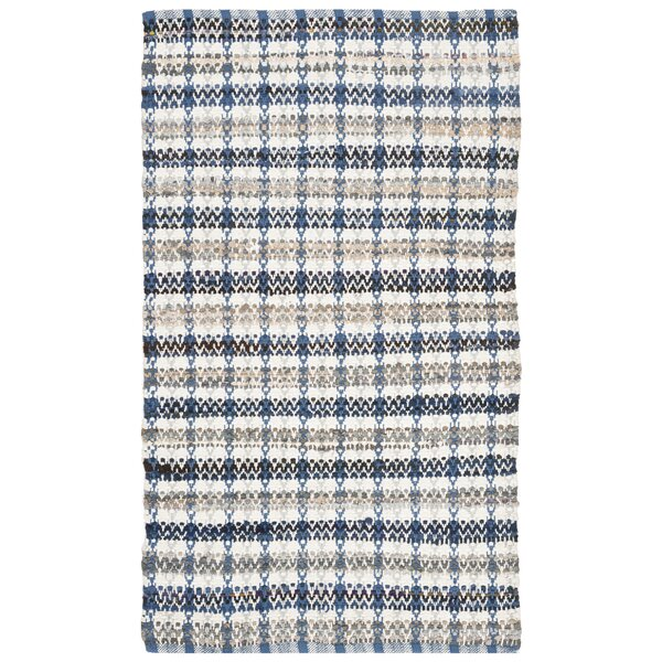 Bester Hand-Woven Cotton Blue/White Area Rug by Bungalow Rose