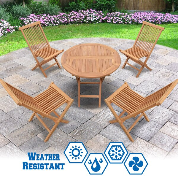 Nora 5 Piece Outdoor Teak Dining Set by Millwood Pines