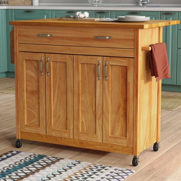 Lapithos Kitchen Island with Wood Top by Winston Porter