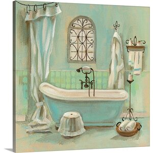 'Glass Tile Bath I' by Silvia Vassileva Painting Print on Canvas by Canvas On Demand