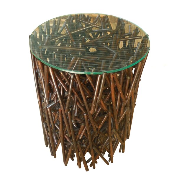 Lefkoniko Maze Bamboo End Table by Bay Isle Home Bay Isle Home