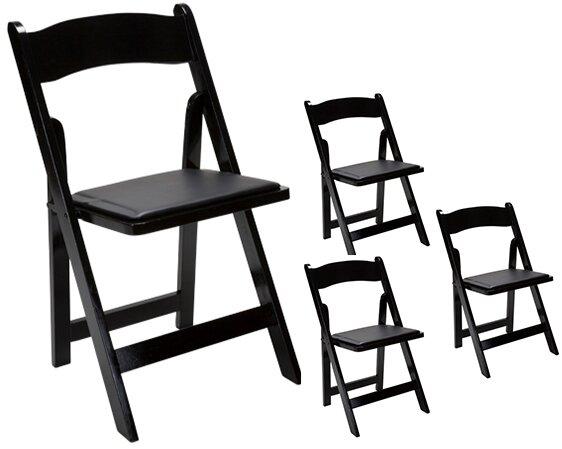 Oakwood Vinyl/Wood Padded Folding Chair (Set of 4)