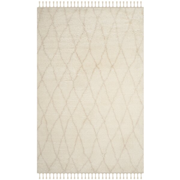 Cosima Hand-Knotted Ivory/Beige Area Rug by Bungalow Rose
