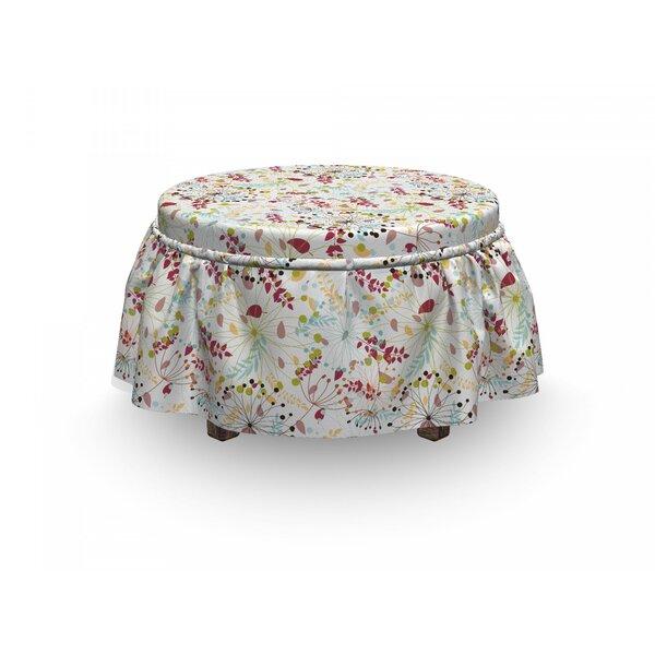 Review Floral Botanical Spring Petals 2 Piece Box Cushion Ottoman Slipcover Set