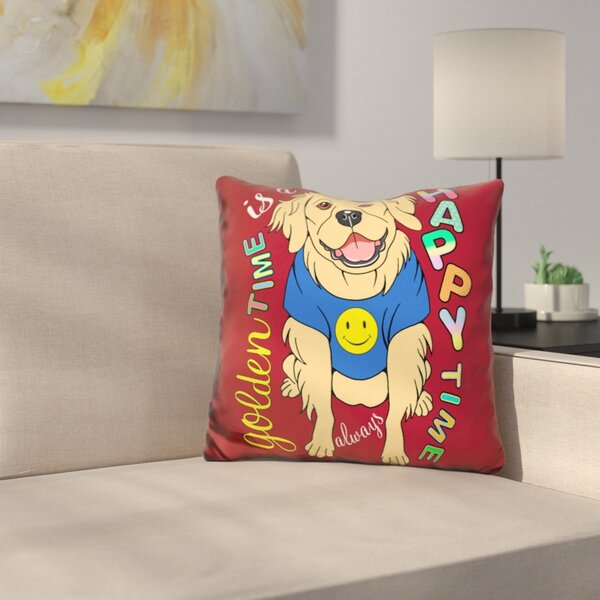 Jiles Golden Retriever Graphic Style Throw Pillow by Symple Stuff