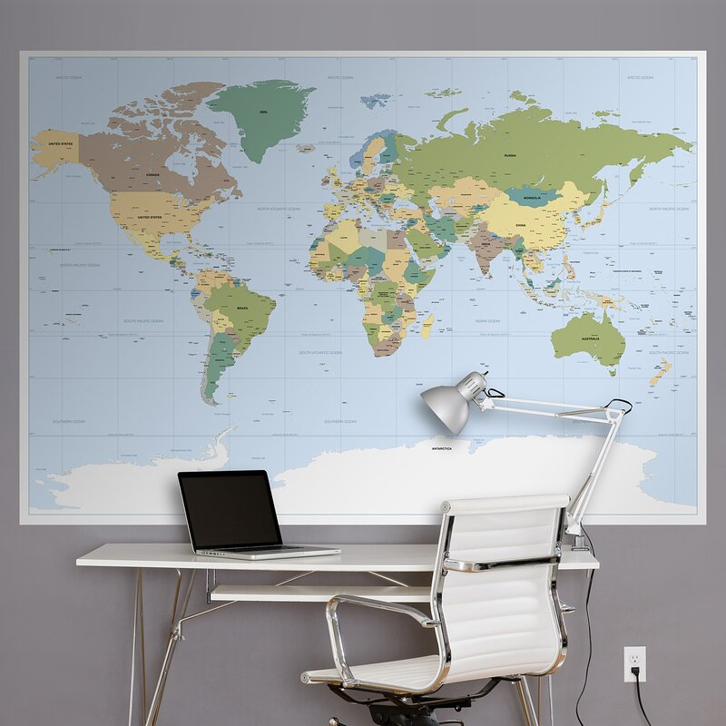 world map wall mural modern bedroom wall komar world map wall mural brewster home fashions reviews wayfair