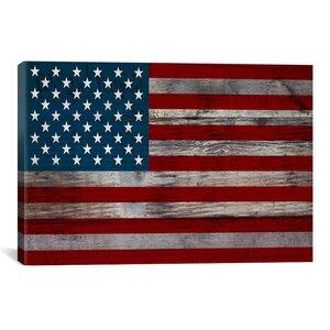 'U.S. Constitution - American Flag', Wood Boards Graphic Art on Canvas by Charlton Home