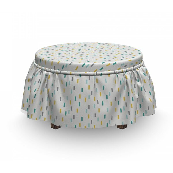 Geometric Short Lines Nostalgic 2 Piece Box Cushion Ottoman Slipcover Set By East Urban Home