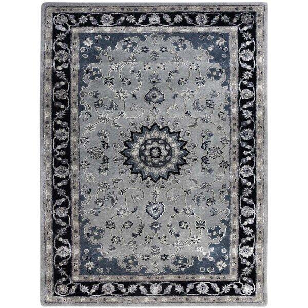 Pawling Hand-Tufted Gray/Navy Area Rug by Charlton Home