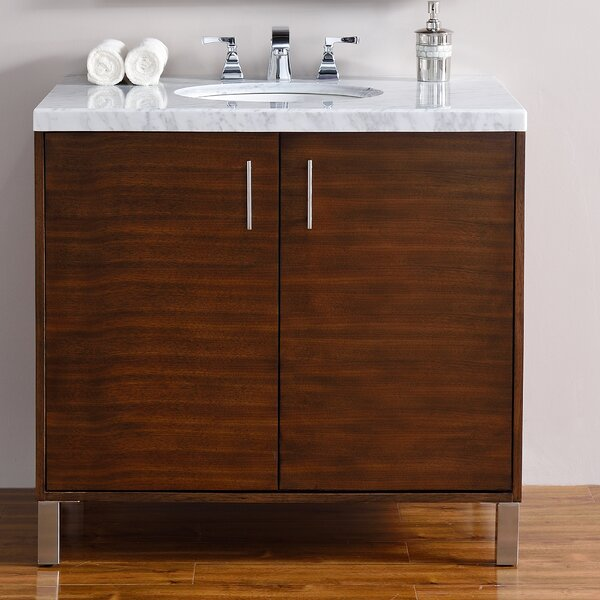 Cordie 36 Single American Walnut Hardwood Base Bathroom Vanity Set by Orren Ellis