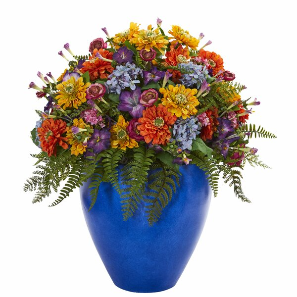 Giant Mixed Floral Arrangement in Vase by Red Barrel Studio