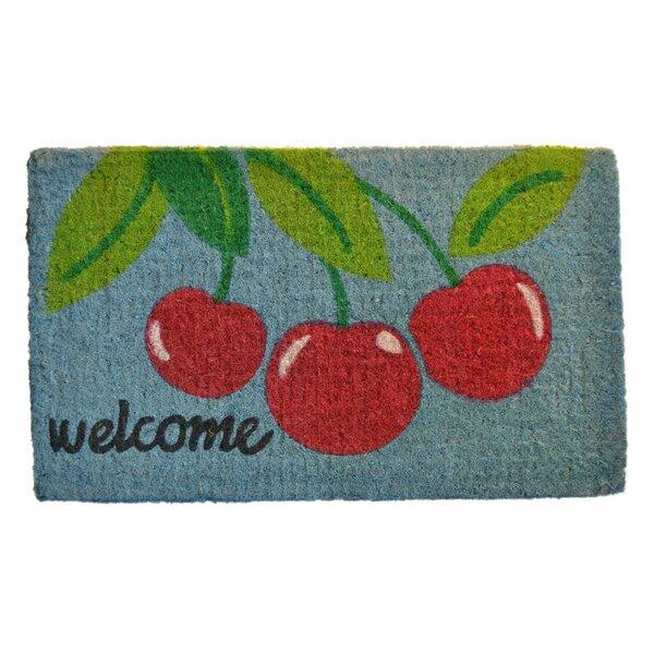 Verrill Welcome Cherry 30 in. x 18 in. Non-Slip Outdoor Door Mat