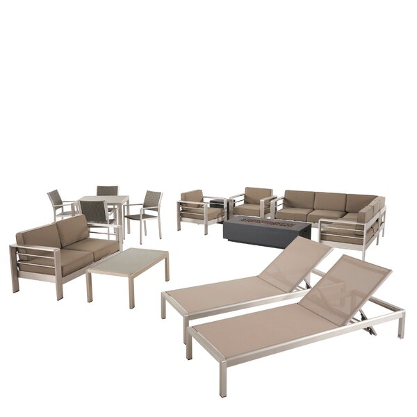 Smelley 14 Piece Rattan Complete Patio Set with Cushions by Orren Ellis