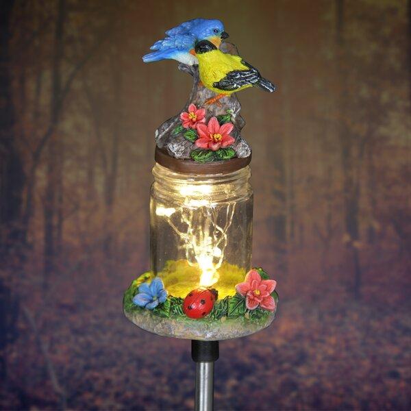 Solar Birds on Firefly Jar Garden Stake by Exhart