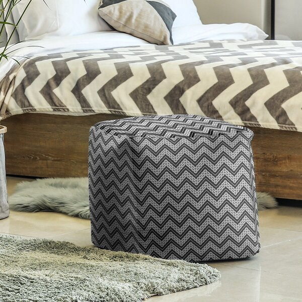 Classic Hand Drawn Chevron Pattern Cube Ottoman by East Urban Home