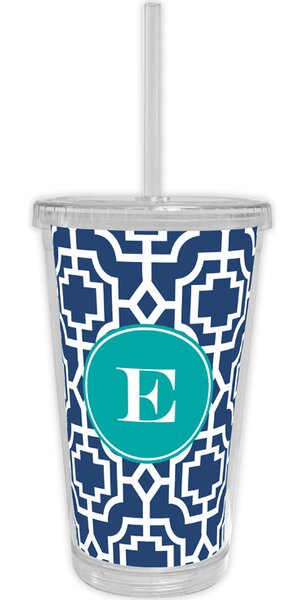 Designer Lattice Single Initial Beverage 16 oz. Plastic Travel Tumbler by Whitney English