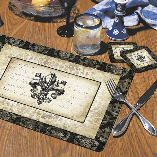 Fleur De Lis Damask Hardboard Placemat (Set of 2) by CounterArt