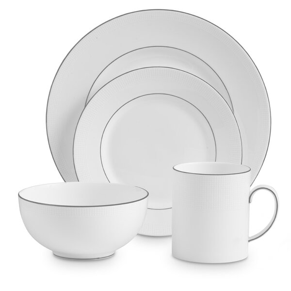 Blanc Sur Blanc 4 Piece Bone China Place Setting Set, Service for 1 by Vera Wang