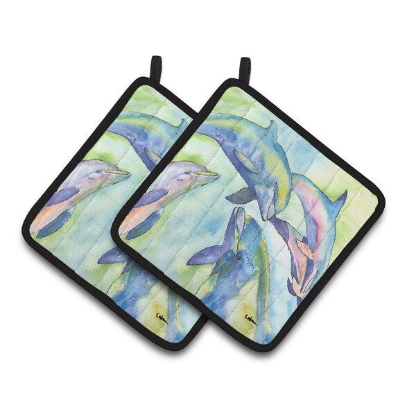 Dolphin Potholder (Set of 2) by East Urban Home