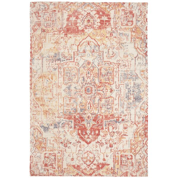 Cheng Hand-Loomed Red/Creme Area Rug by Bungalow Rose
