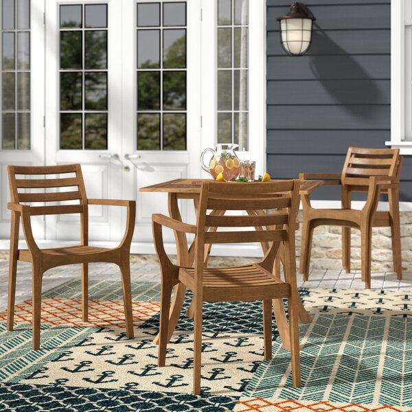 Moana Stacking Patio Dining Chair (Set of 4) by Beachcrest Home