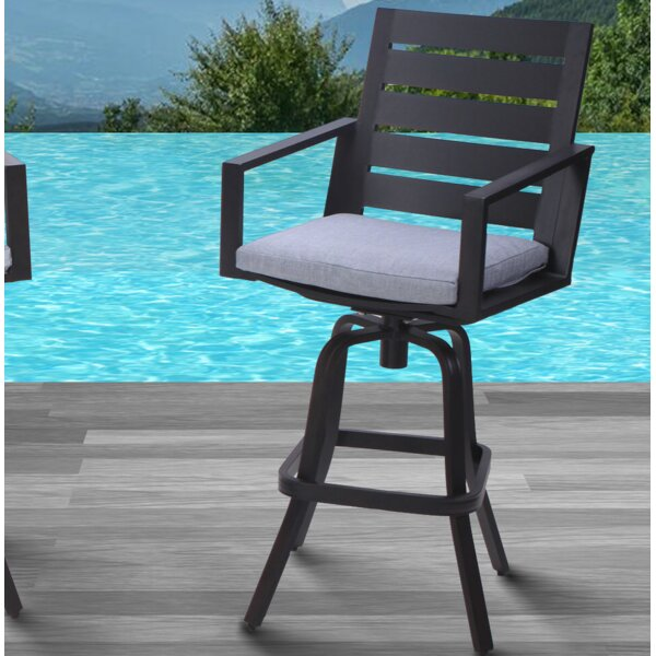 Moralez 30 Patio Bar Stools with Cushions (Set of 2) by Williston Forge