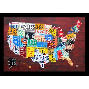 'License Plate Map of the US' Framed Graphic Art Print, Poster by Frame USA