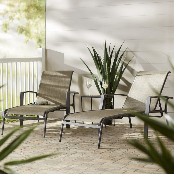 Pavilion Reclining Chaise Lounge (Set of 2) by Three Posts