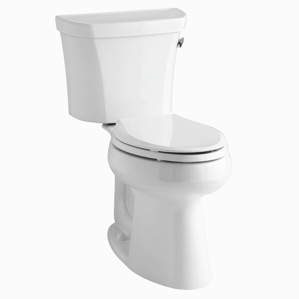 Groove Two-Piece Elongated 1.28 GPF Toilet with Class Five Flush Technology, Right-Hand Trip Lever and Tank Cover Locks by Kohler
