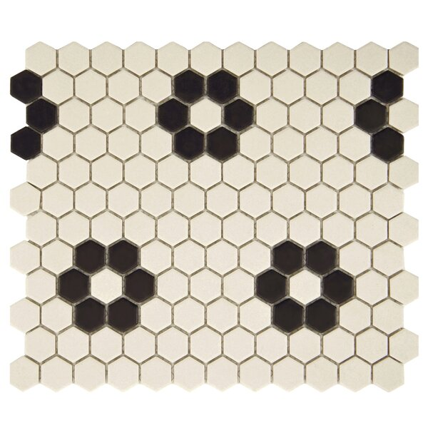 New York Hexagon 0.875 x 0.875 Porcelain Unglazed Mosaic Tile in Antique White with Heavy Flower by EliteTile