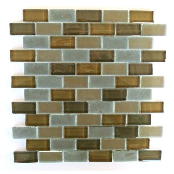 Free Flow 1 x 2 Glass Mosaic Tile in Brown/Gray by Abolos