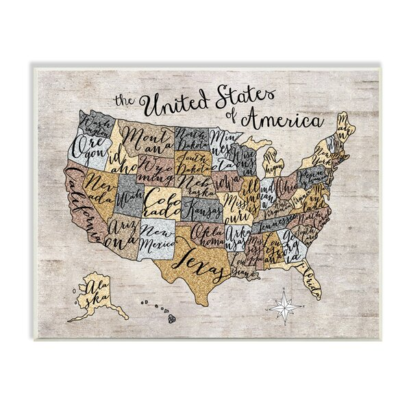 Stella United States Map Typography Wall Plaque by Viv + Rae