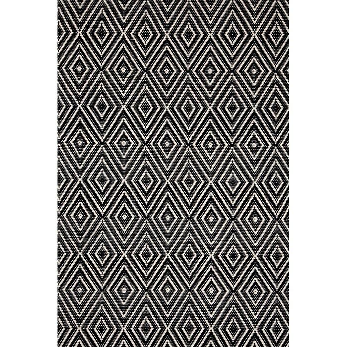 Diamond Black White Area Rug