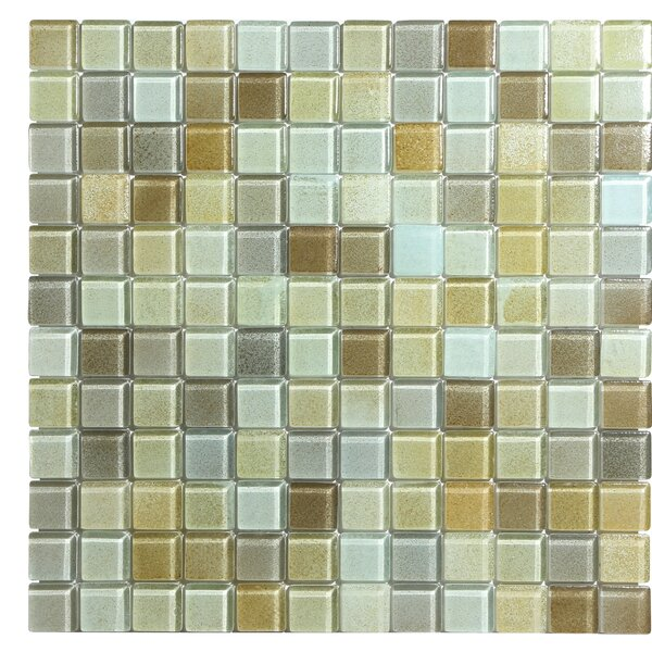 Hi-Fi 1 x 1 Glass Mosaic Tile in Sandy Beige/Brown/Pale Gray by Kellani