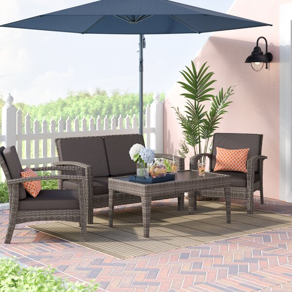 Hazle 4 Piece Sofa Seating Group with Cushions by Beachcrest Home