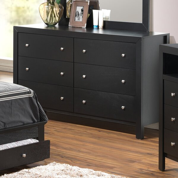 Kennon 6 Drawer Double Dresser with Mirror by Three Posts