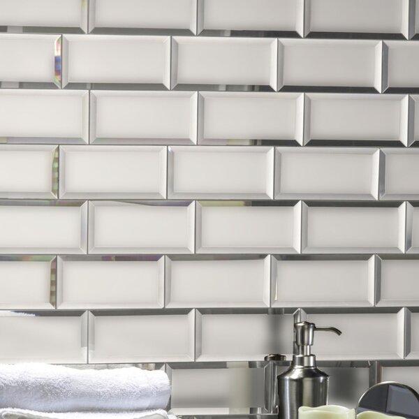 Echo 3 x 6 Matte Mirror Glass Field Tile in Silver by Abolos